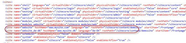 Sites in Sitecore web.config