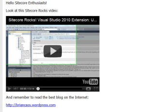 Displaying embedded YouTube video