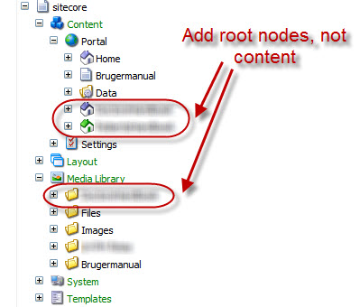 Adding root nodes only