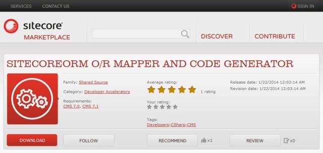 SitecoreORM O/R Mapper and Code Generator