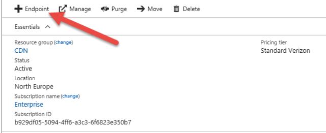 Azure CDN Add Endpoint