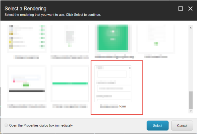 Select a Rendering