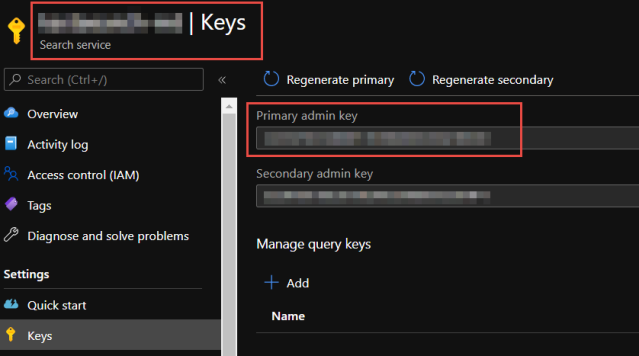 Azure Search Keys